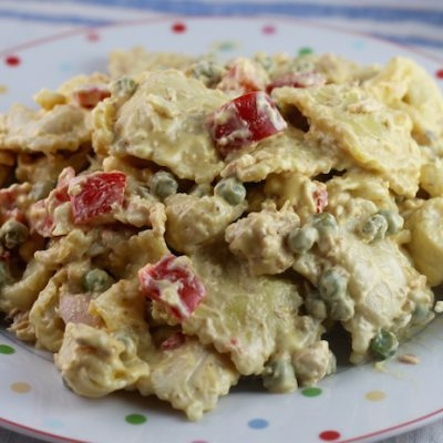 Salmon Bacon Salad with Ravioli 1