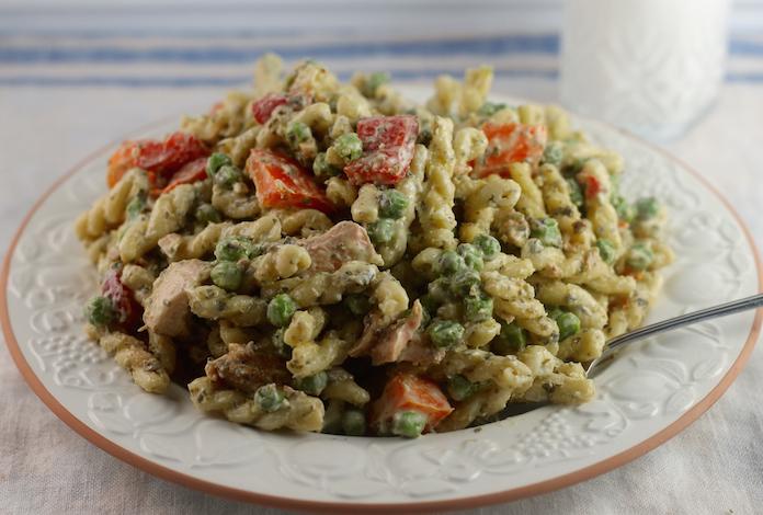 Pesto Salmon Pasta Salad