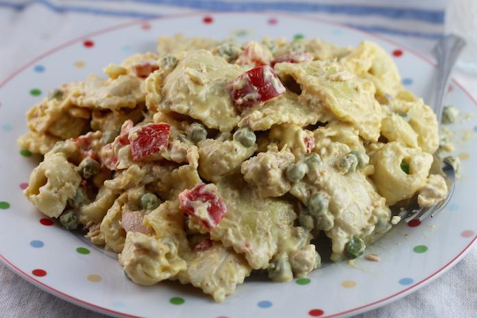 Salmon Bacon Salad with Ravioli