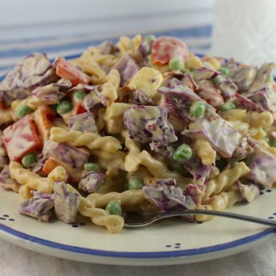 Cabbage and Pasta Salad with Salmon and Bacon