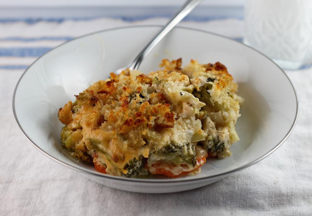 Cheesy Broccoli Carrot Bake