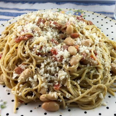 Pesto Spaghetti with White Beans