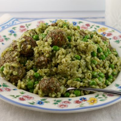 Pesto Rice with Meatballs