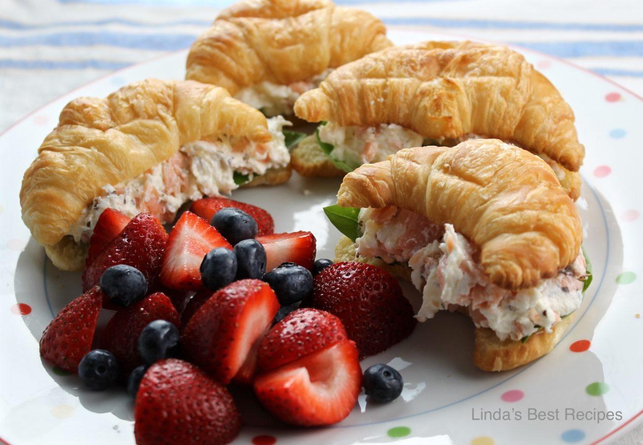 Salmon and Basil Croissant Sandwiches
