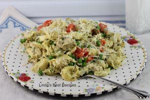 Pesto Chicken and Tortellini Skillet