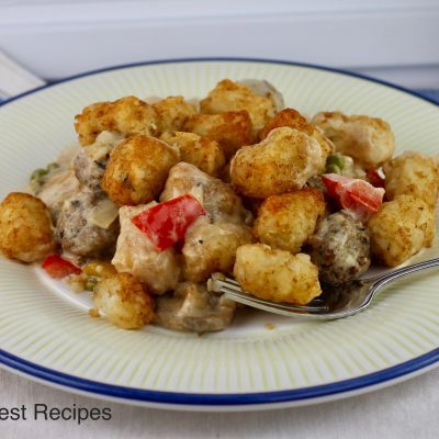 Tater Tot Potato and Meatball Casserole