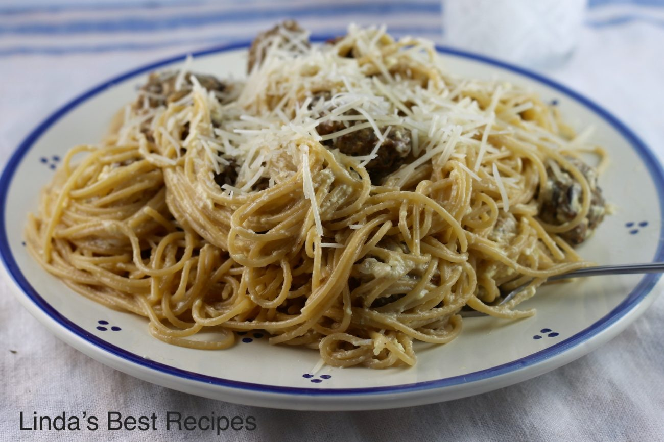Spaghetti Carbonara with Meatballs