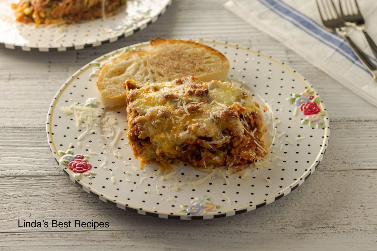 Creamy and Beefy Baked Spaghetti