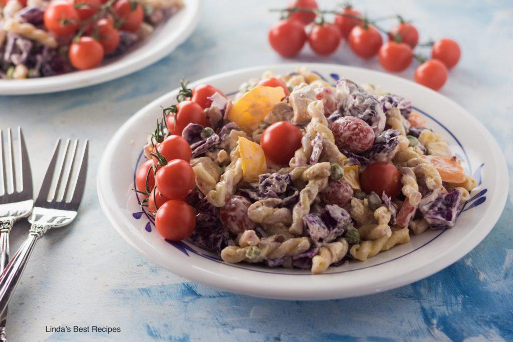 Chicken Pasta Salad with Cabbage