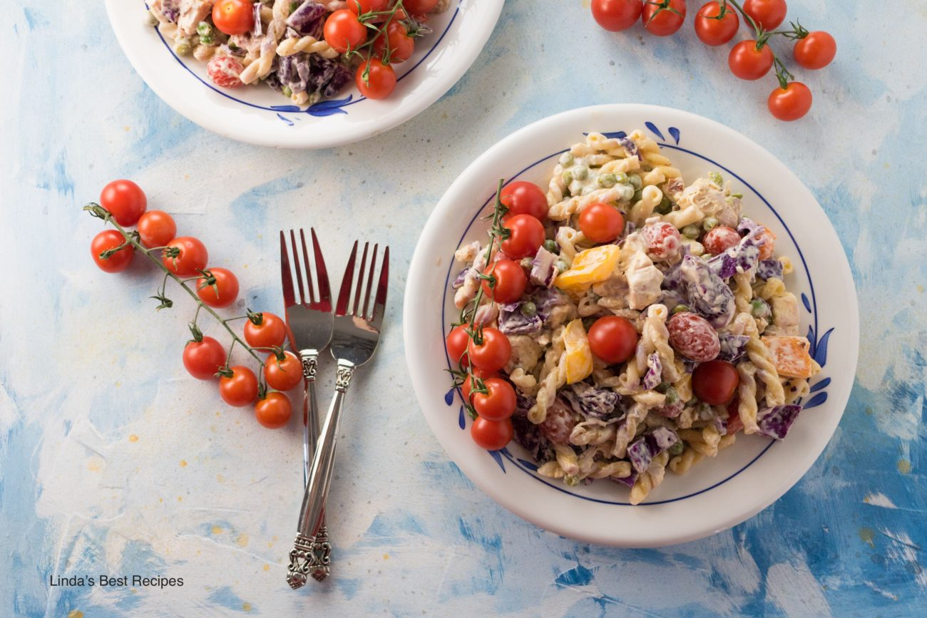 Chicken and Pasta Salad with Cabbage