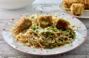 Chicken Spiedini on Pesto Pasta