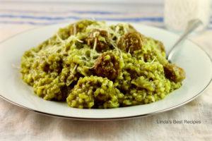Pesto Meatballs and Rice
