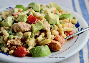 Salmon Pasta Avocado Salad