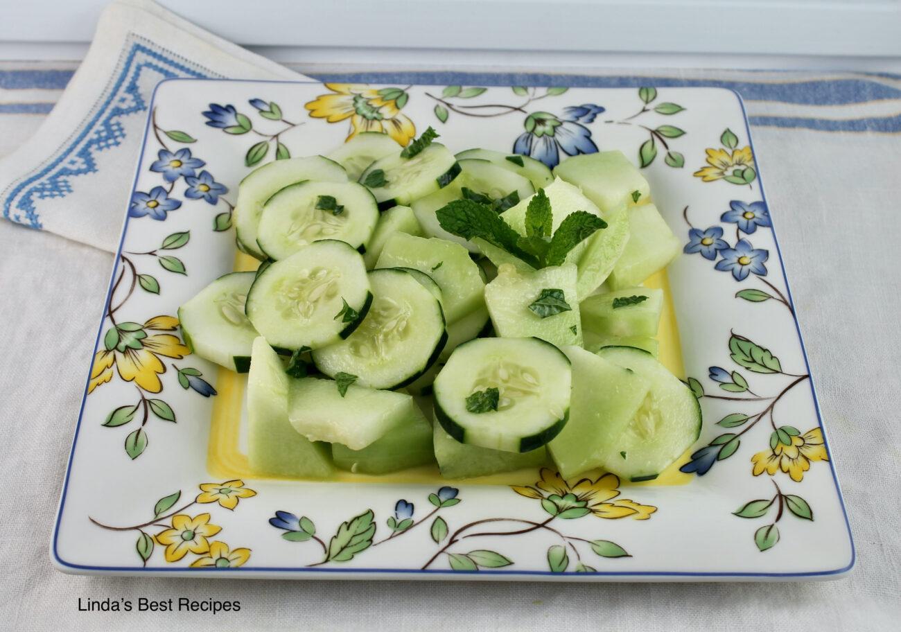 Cucumber Melon Salad in Honey Mustard Dressing